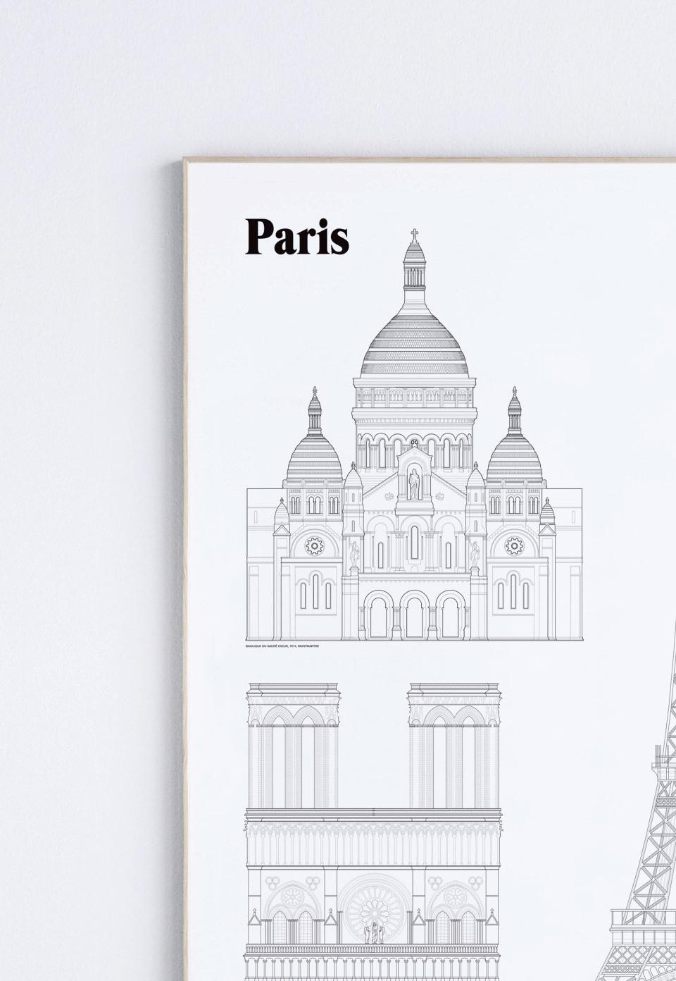 Kända landmärken från Paris, bilden är beskuren.