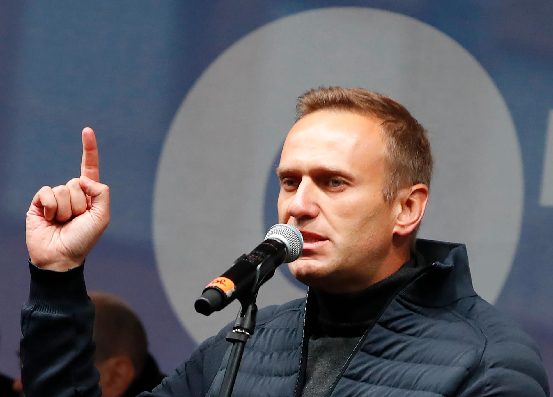 Aleksej Navalnyj vid protester i Moskva hösten 2019.