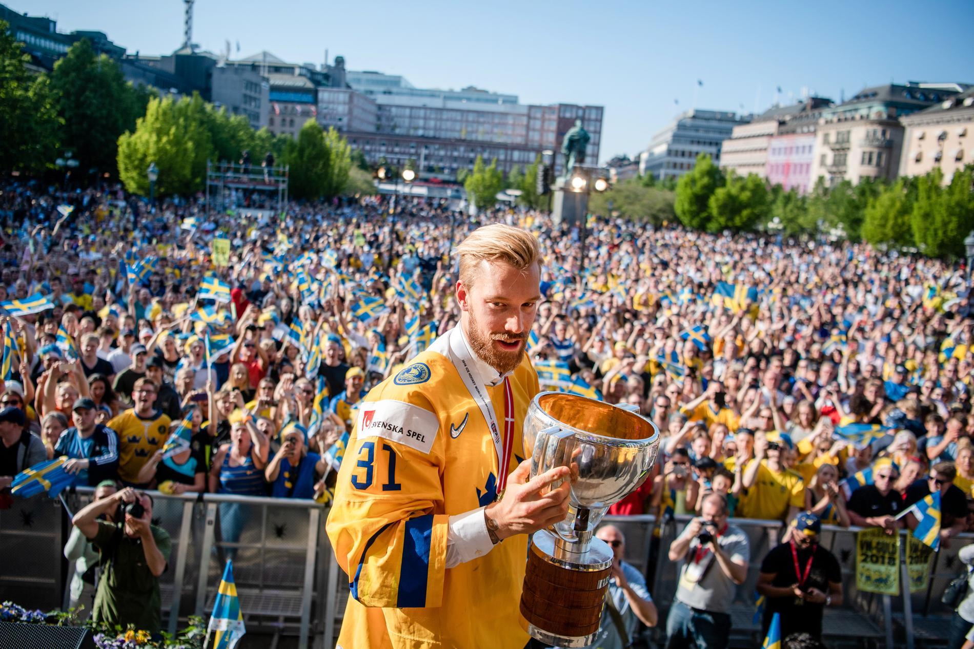 Anders Nilsson efter VM-guldet 2018.