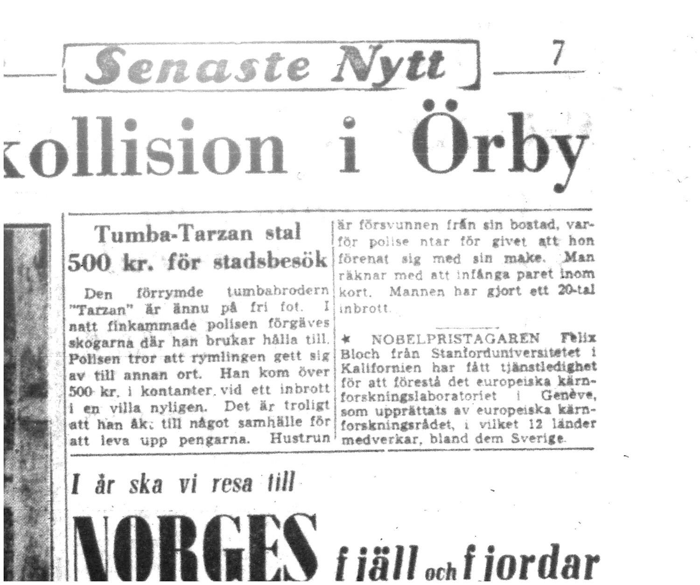 Faksimil från Aftonbladet den 12 juni 1954.
