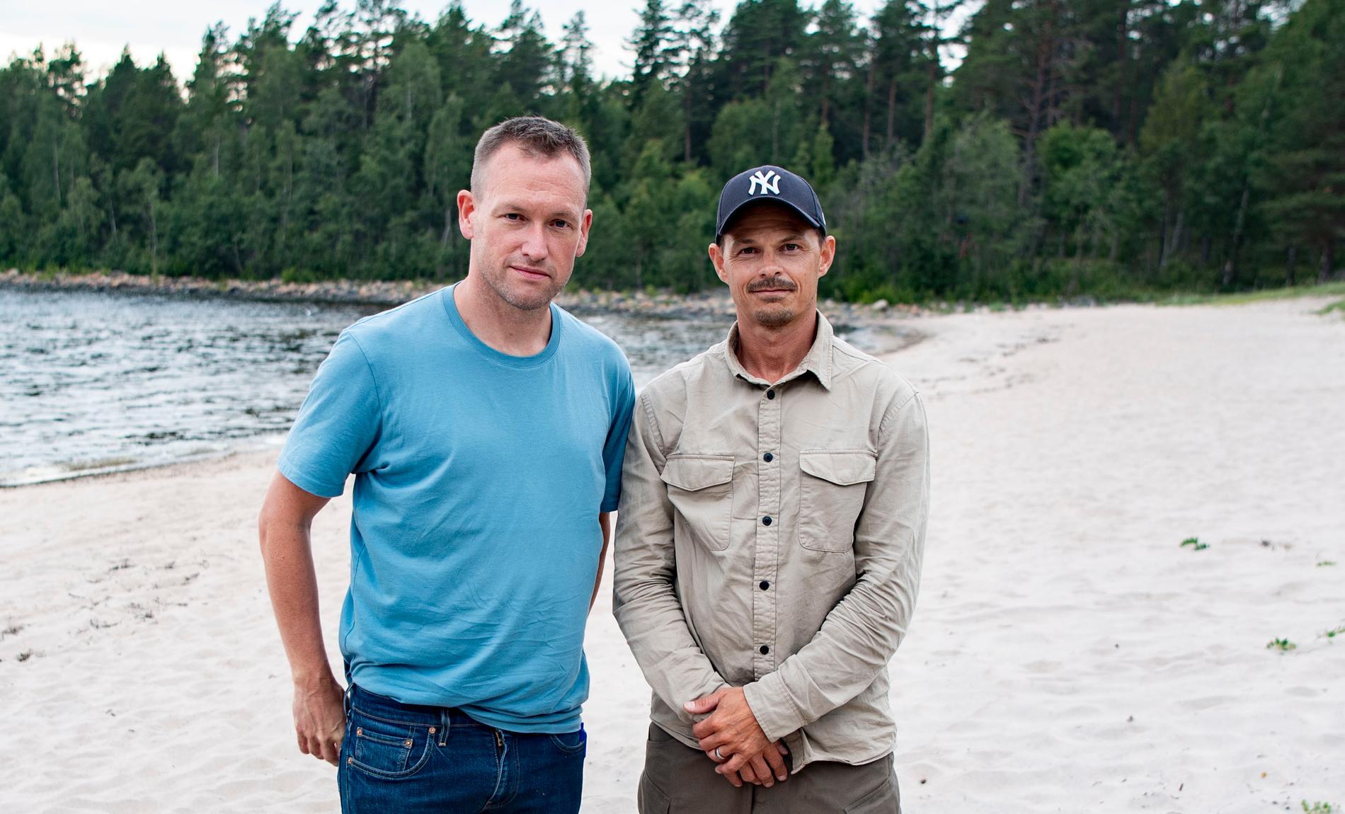 """Aftonbladets Torbjörn Ek och Peter Wixtröm på plats på Seskarö i Haparanda skärgård där """"Robinson"""" spelas in sommaren 2020."""