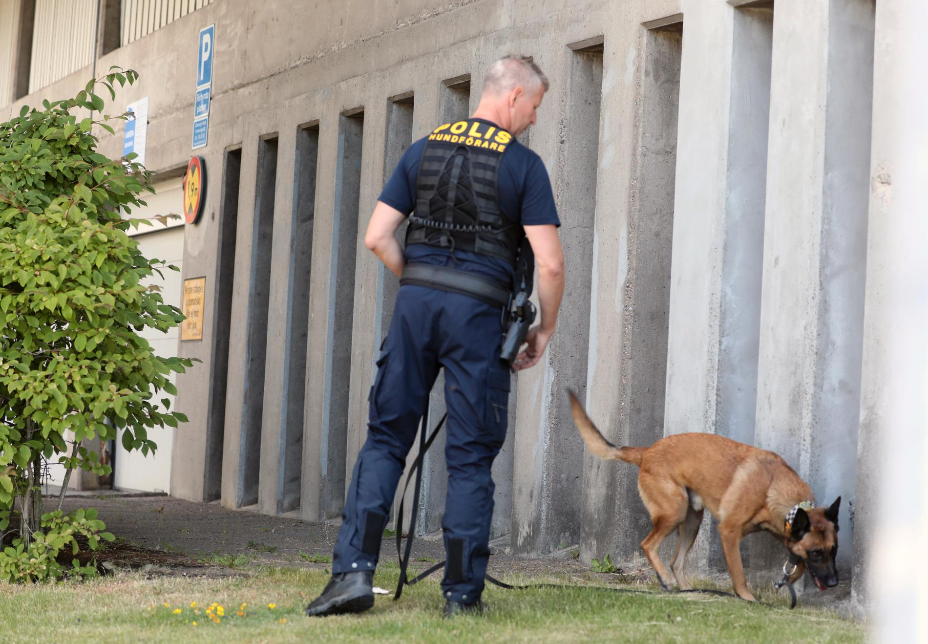 Polis med polishund i Bikopsgården.