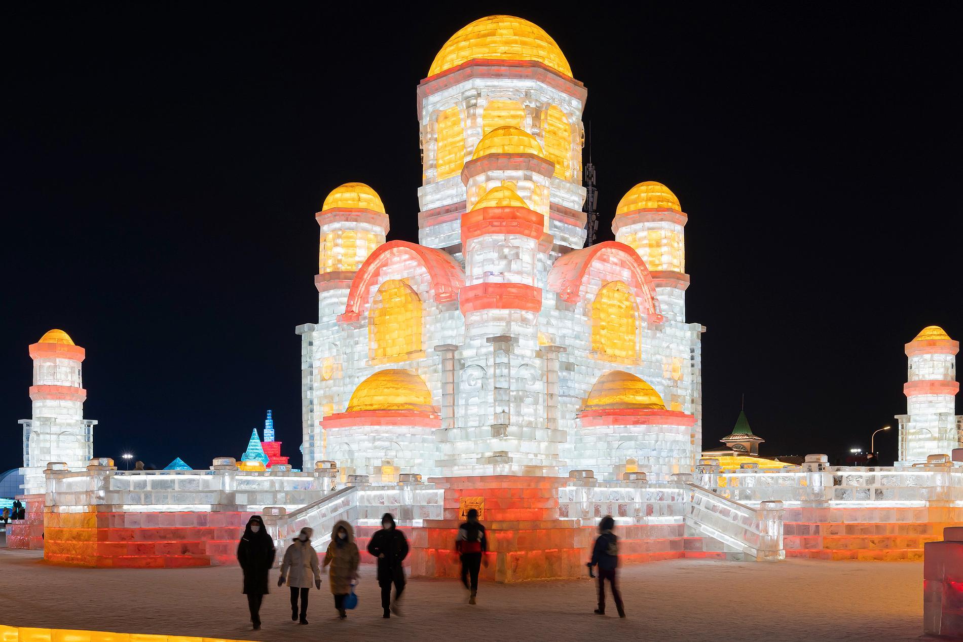 Harbin i nordöstra Kina är känd för sin isfestival. Arkivbild.