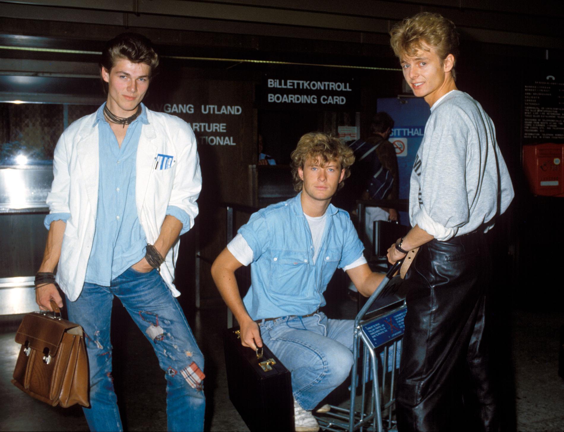 A-ha med från vänster Morten Harket, Magne Furuholmen och Paul Waaktaar 1985.