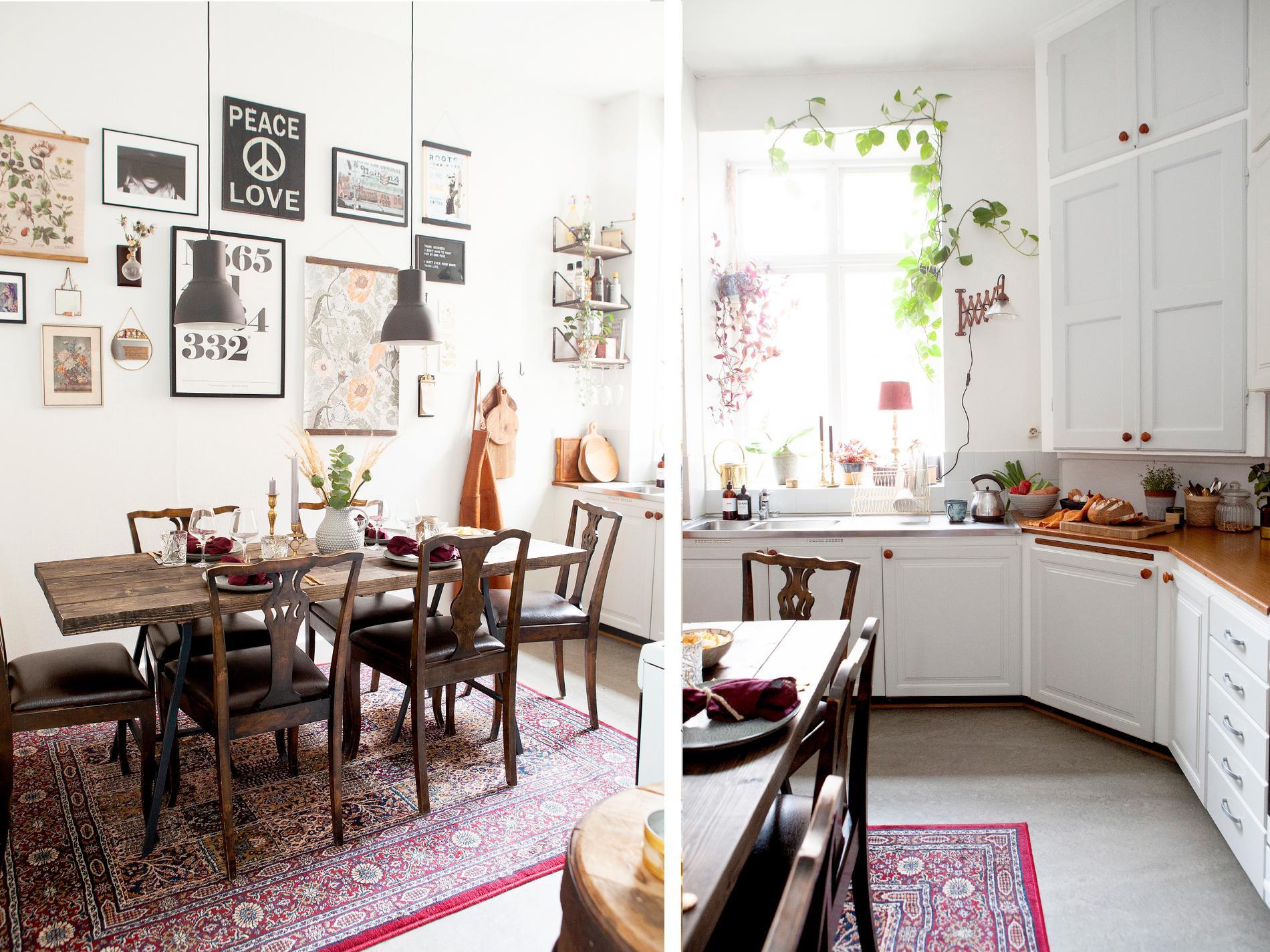 """Bild 1: Välkommen in i köket. Paret har själva byggt bordet av breda plankor som de sedan betsat. Bockbenen kommer från Ikea. Stolar från loppis. """"Tavelväg-gen är en spretig samling av sådant vi förälskat oss i, som loppisfynd, arvegods eller gåvor"""", säger Lizette. Taklampor och matta från Ikea. Bild 2: Flödande ljus i köket. Överskåpet i hörnet är original från när lägenheten byggdes 1909. Resten av köket har bytts av tidigare boenden i lägenheten. Fönsterlampan är köpt på loppis."""