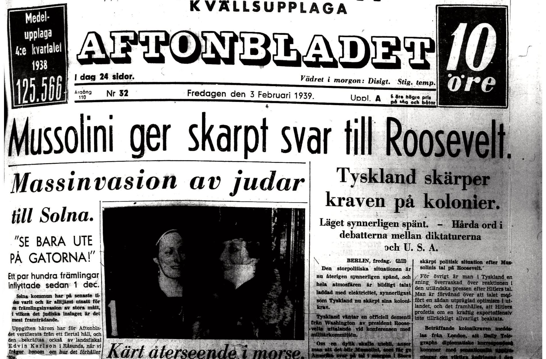Aftonbladets förstasida den 3 februari 1939.