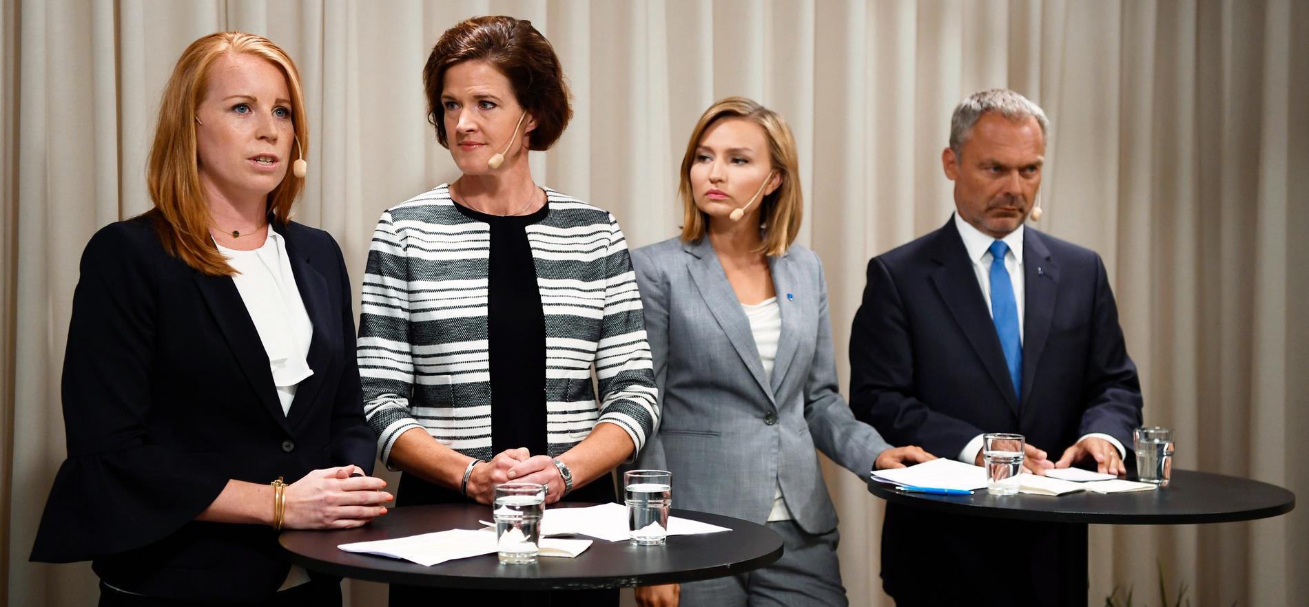 Annie Lööf, Anna Kindberg Batra, Ebba Busch Thor och Jan Björklund.