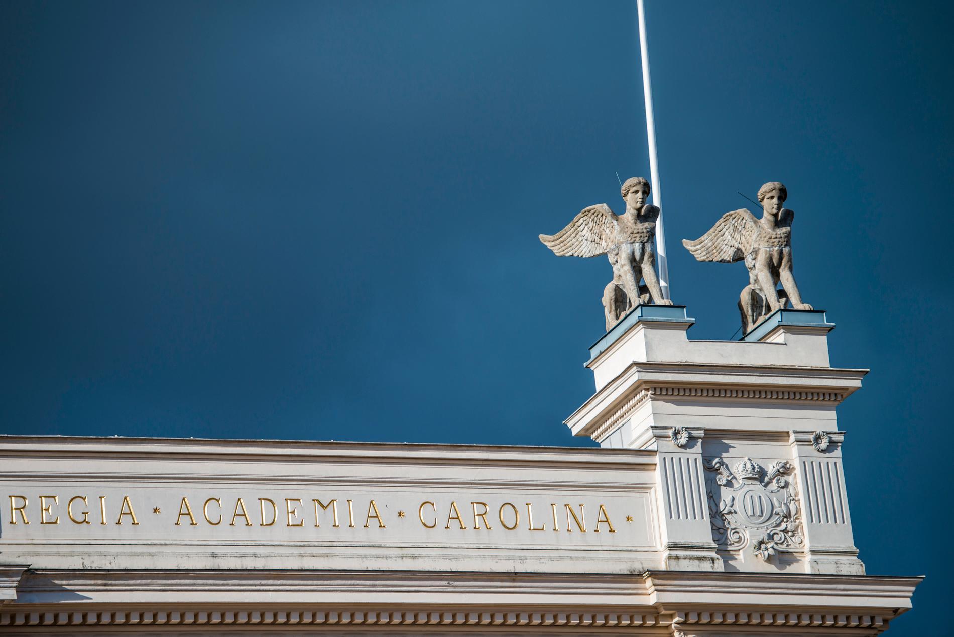 De fyra sfinxerna på taket av Universitetshuset i Lund måste gjutas om sedan sprickbildningar upptäckts på pjäserna. Arkivbild.