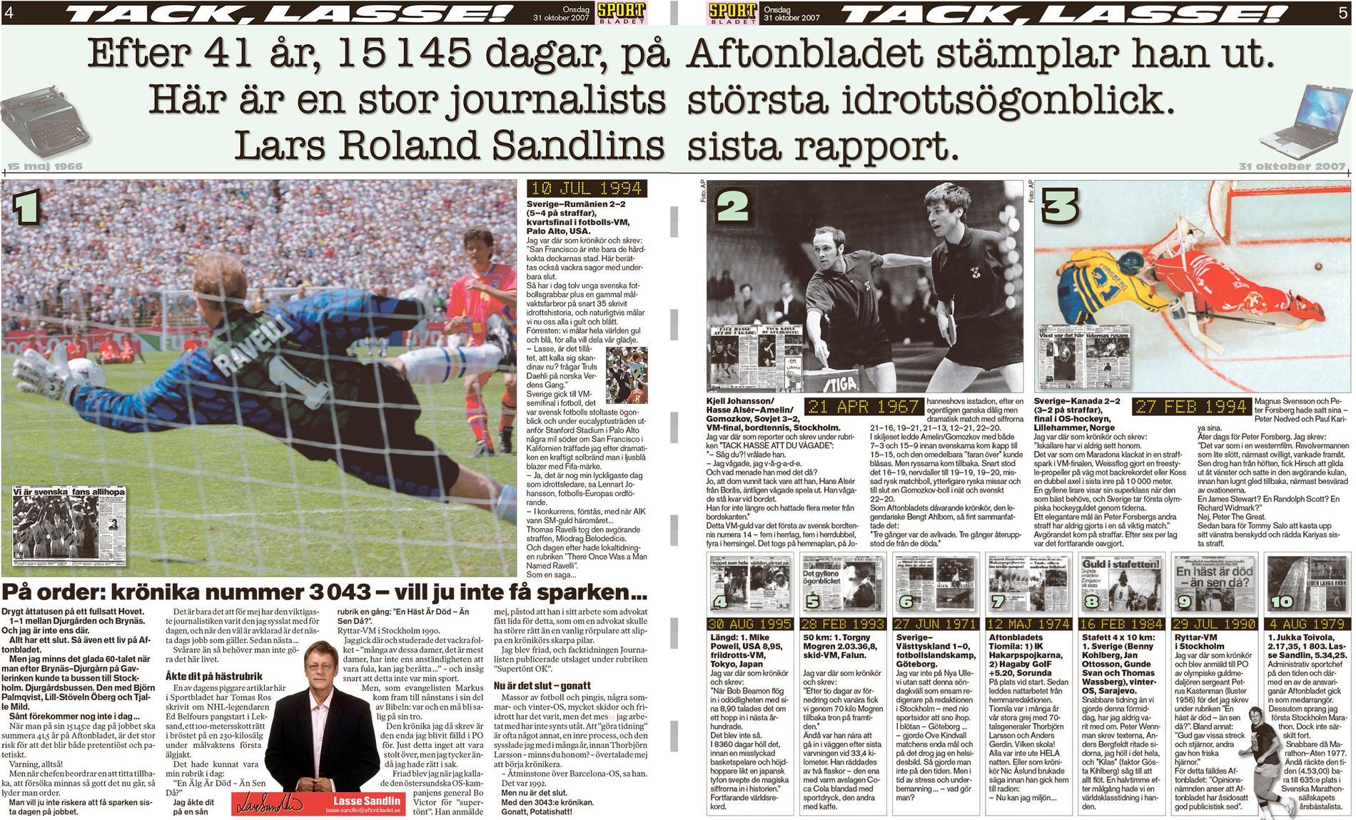 Sportbladet 31 oktober 2007: Lasse Sandlin stämpade ut – men gjorde sedan comaback i spalterna några gånger.