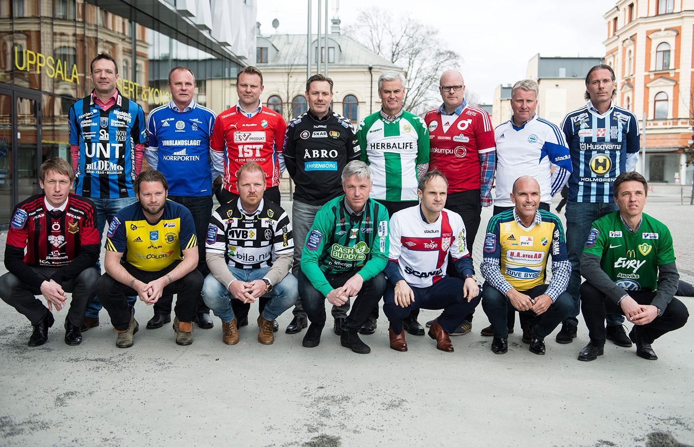 """Superettans tränare Övre raden: Kim Bergstrand ( Sirius ), Roger Franzén ( GIF Sundsvall ), Roberth Björknesjö ( Östers IF), Thomas Askebrand ( GAIS ), Nanne Bergstrand  ( Hammarby Fotboll ), Patrik Werner ( Degerfors IF ), Peter Kuno Johansson ( IFK Värnamo ) och Niclas Tagesson ( Husqvarna FF ). Nedre Raden: Graham Potter ( Östersunds FK ), Joakim Persson ( Ängelholms FF ), Jörgen Pettersson ( Landskrona BoIS ), Jörgen Wålemark ( Varbergs BoIS FC ), Azrudin """"Valli"""" Valentic ( Assyriska FF ), Tor-Arne Fredheim ( Ljungskile SK ), Mats Gren ( Jönköpings Södra IF)."""