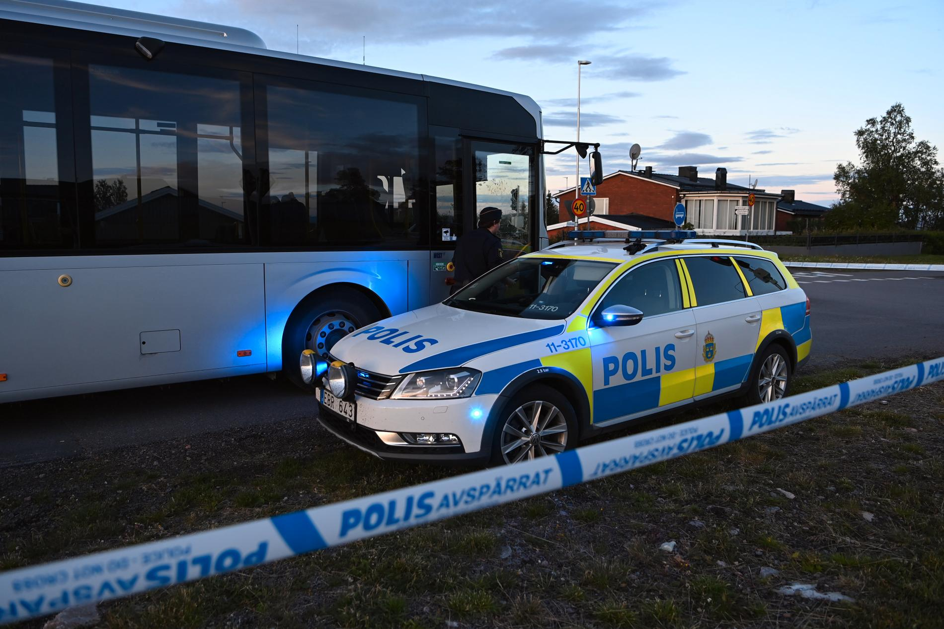 En man mördades på en buss i Kiruna.