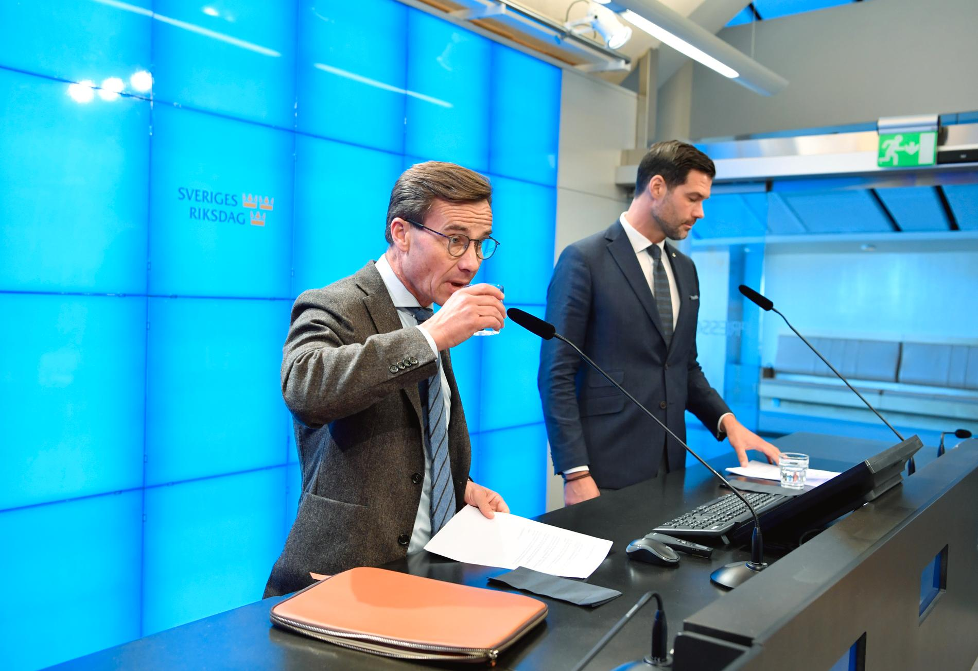 Moderaternas partiledare Ulf Kristersson (M) och Johan Forssell, rättspolitisk talesperson för Moderaterna