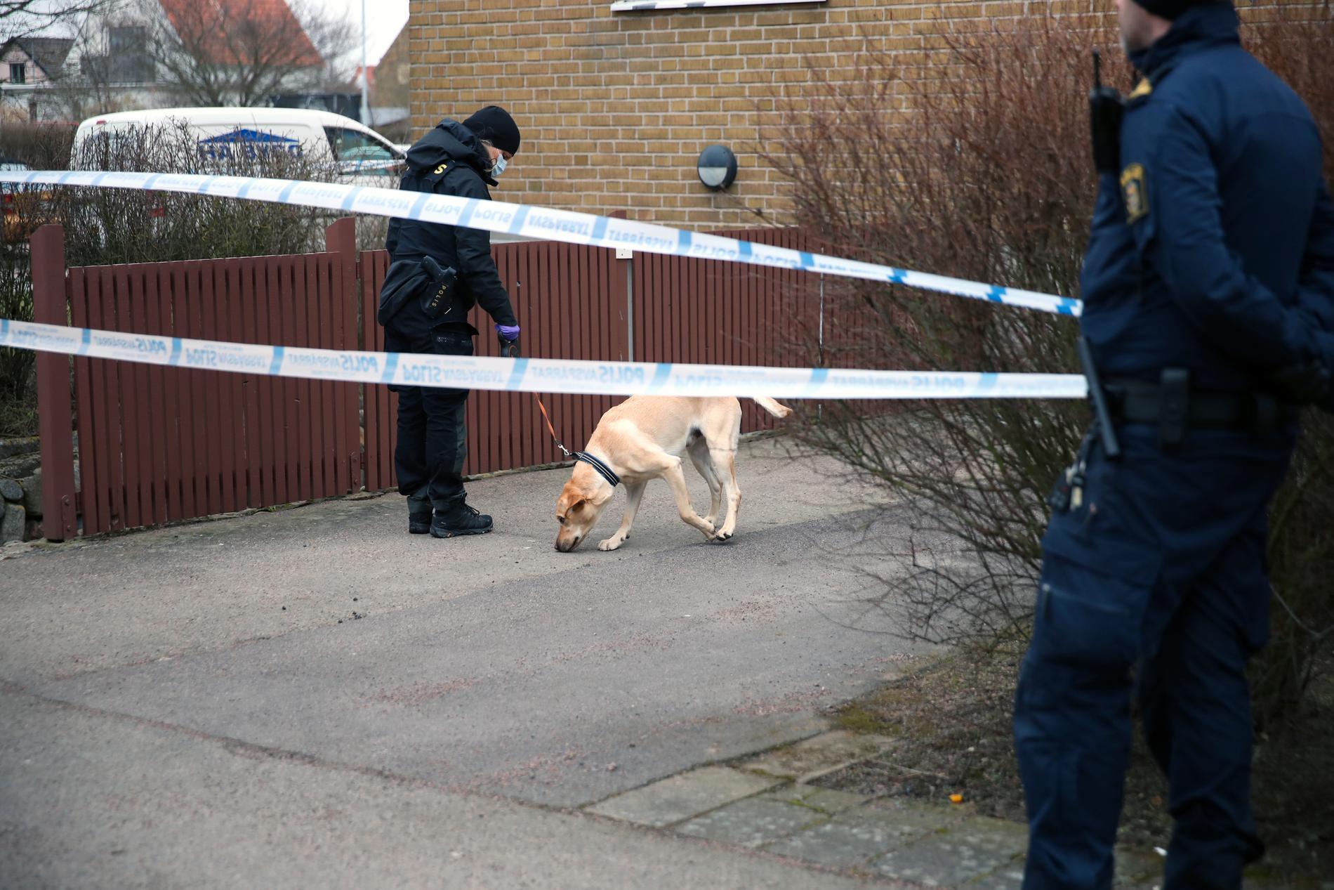 Polisens specialsökhundar på plats.