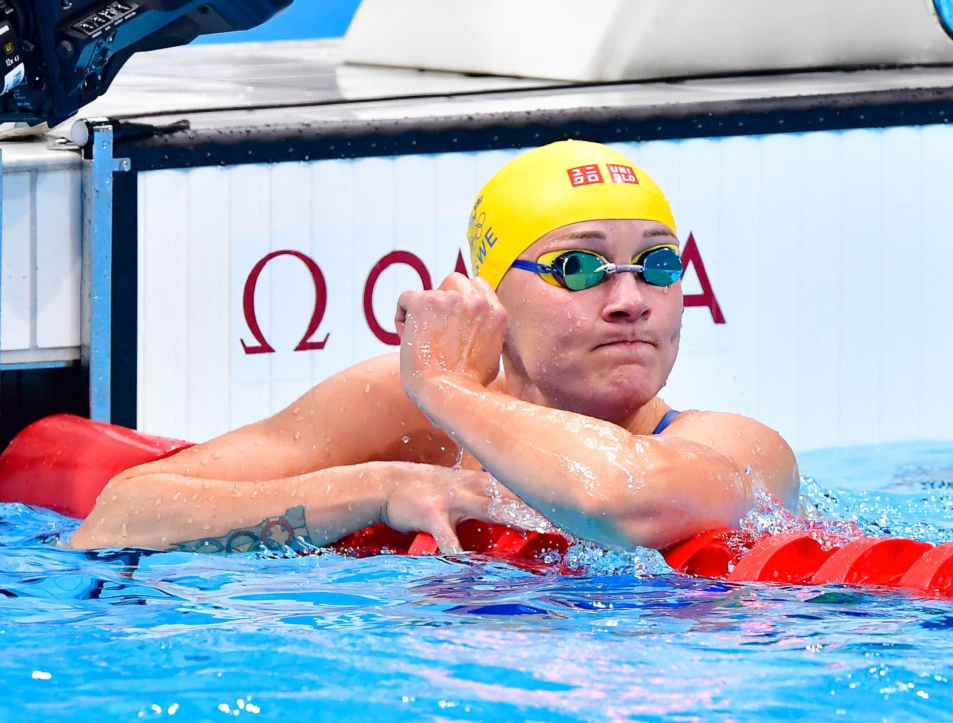 Sarah Sjöström efter sjundeplatsen i OS-finalen på 100 meter fjäril.