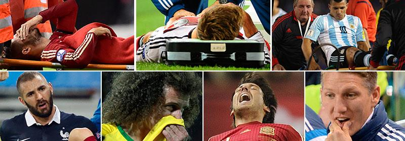 Ett gäng stjärnor har skadat sig under senaste dagarnas landslagsspel.
