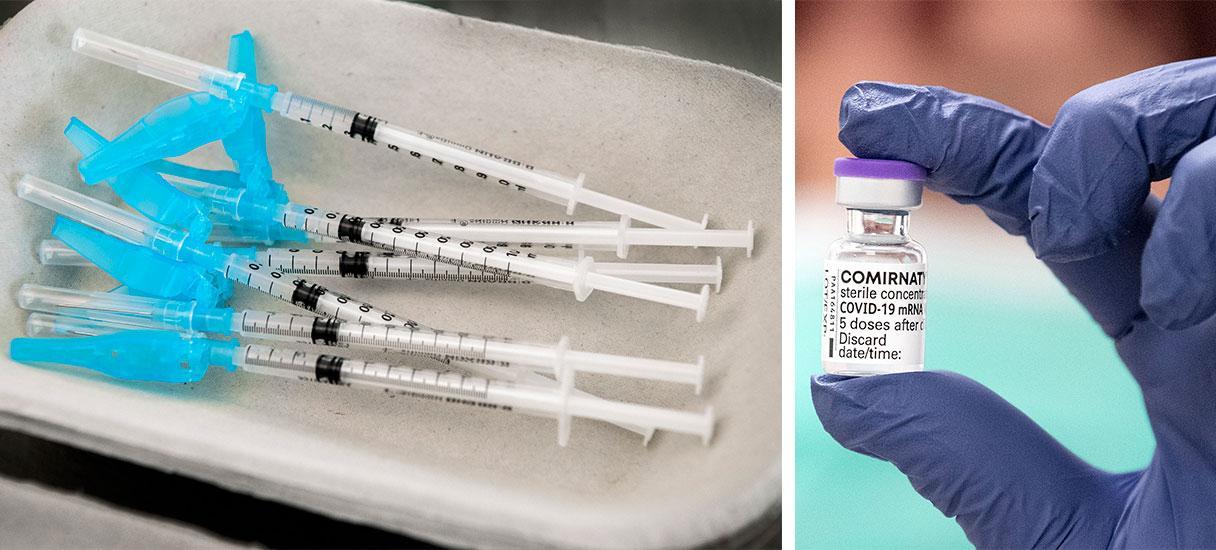 """Pfizers vaccin mot covid-19 är ett mRNA-vaccin. Läkemedelsverket har fått in drygt 550 anmälningar om misstänkta biverkningar i form av blodproppar av vaccinet, vars officiella namn är """"Comirnaty"""". Totalt har 10 över 10 miljoner doser getts ut i Sverige."""