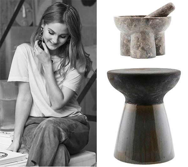 """T h: Mortel i sten, 1 093 kr, House doctor. Keramik är en växande trend. Pall i keramik, 1 690 kr, Roomly. """"Jag tror på en fortsatt kärlek till att få in naturen i våra hem"""", säger Linnéa Salmén, inredningsstylist"""