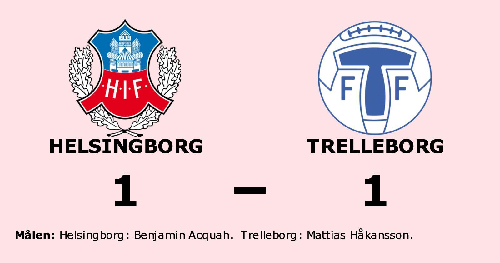 Oavgjort i toppmötet mellan Helsingborg och Trelleborg