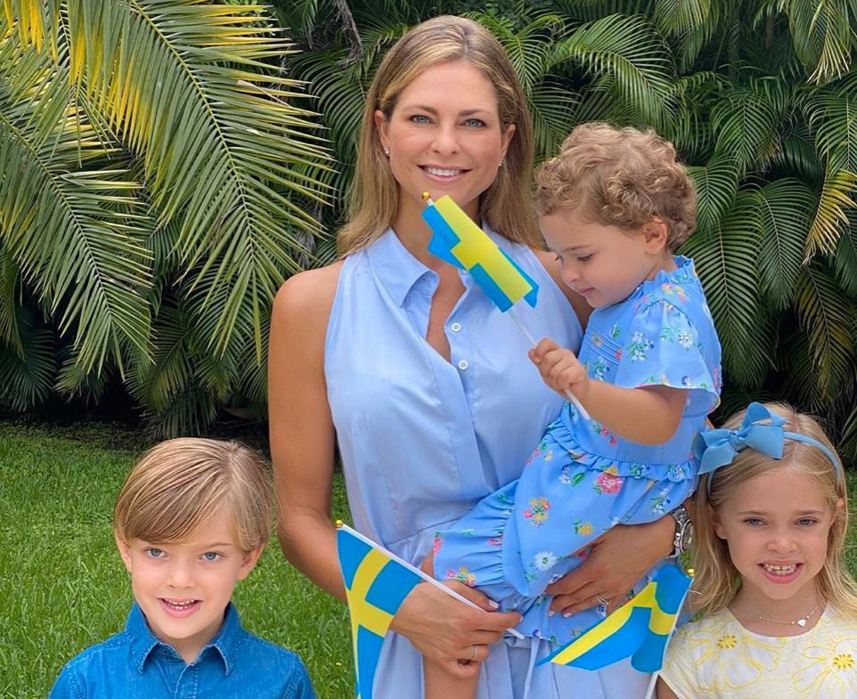 Prinsessan Madeleine med barnen Nicolas, Adrienne och Leonore.