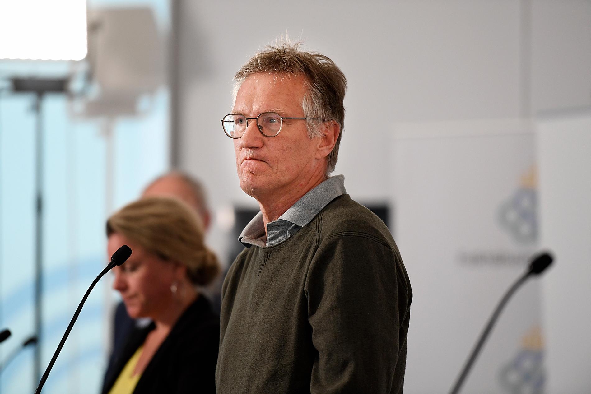 Anders Tegnell, statsepidemiolog, Folkhälsomyndigheten, under tisdagens dagliga myndighetsgemensamma pressträff om om covid-19.