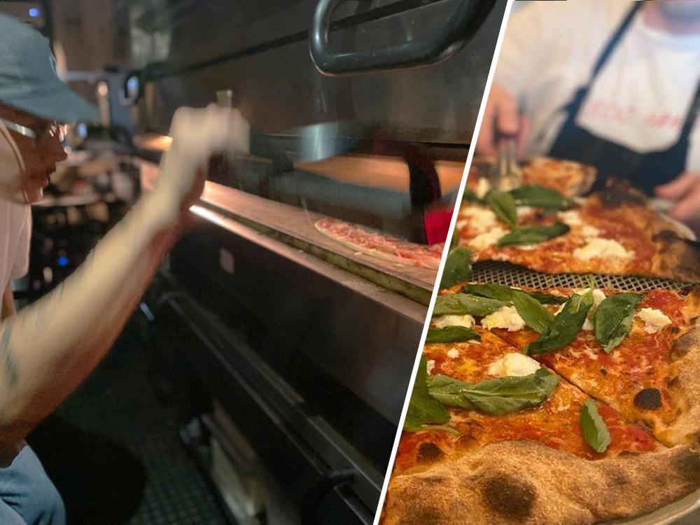 "På 800 grader serveras frasig pizza per slice, ""New York-style""."