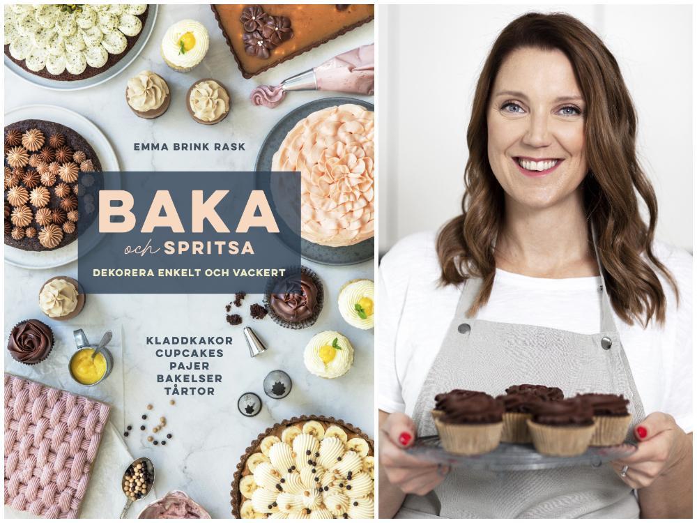 Emma Brink Rask med sin bok Baka och spritsa.