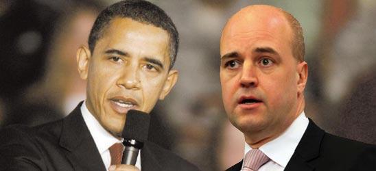Statsminister Fredrik Reinfeldt borde lyssna på USA:s president Barack Obama, skriver Juan Fonseca. Obs! Denna bild är ett montage.