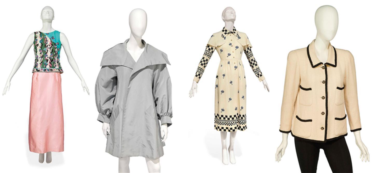 Suzy Menkes auktionerar bland annat ut plagg av Emilio Pucci, Christian Lacroix, Ossie Clark och Chanel.