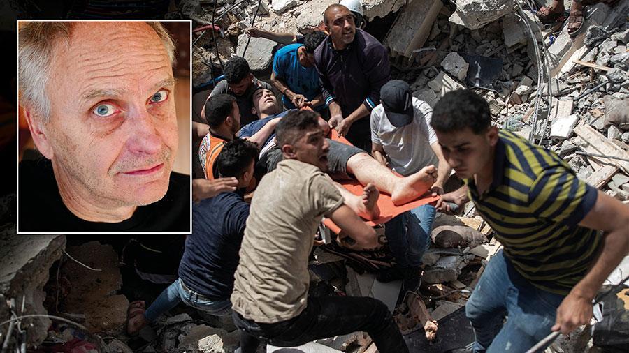 Staten Israel kom till under FN:s regelverk och skulle inte klara sig utan omvärldens stöd. Det är hög tid för det internationella samfundet, där Sverige ingår, att ta ansvar för sin skapelse och ge upprättelse åt dess offer, skriver Staffan Carlshamre. På bilden förs en palestinsk man bort på bår efter en flygattack i Gaza City den 16 maj.