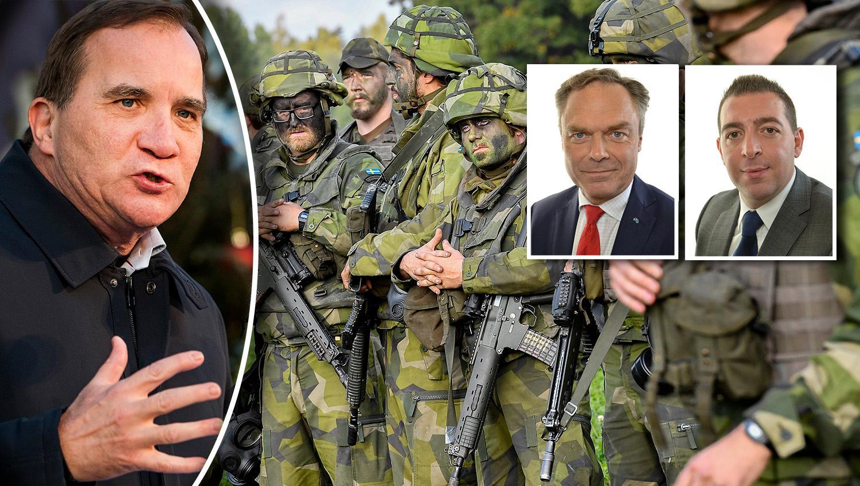 Att statsministern ens öppnat för att sätta in militär mot gängen i förorterna tyder på panikstämning i regeringen, skriver Jan Björklund och Roger Haddad.