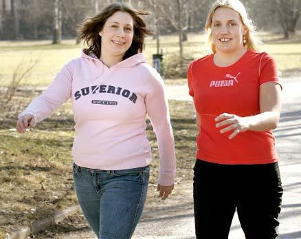 """kompisgår """"Mitt nästa stora mål blir att få i gång minst sex av mina jobbarkompisar att springa Vårruset den 28 maj,"""" säger Madeleine, som kompisgår med Christine."""