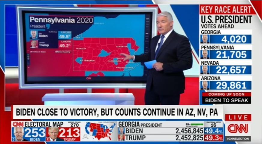 """John King framför sin """"magiska skärm"""" i CNN:s livesändning."""