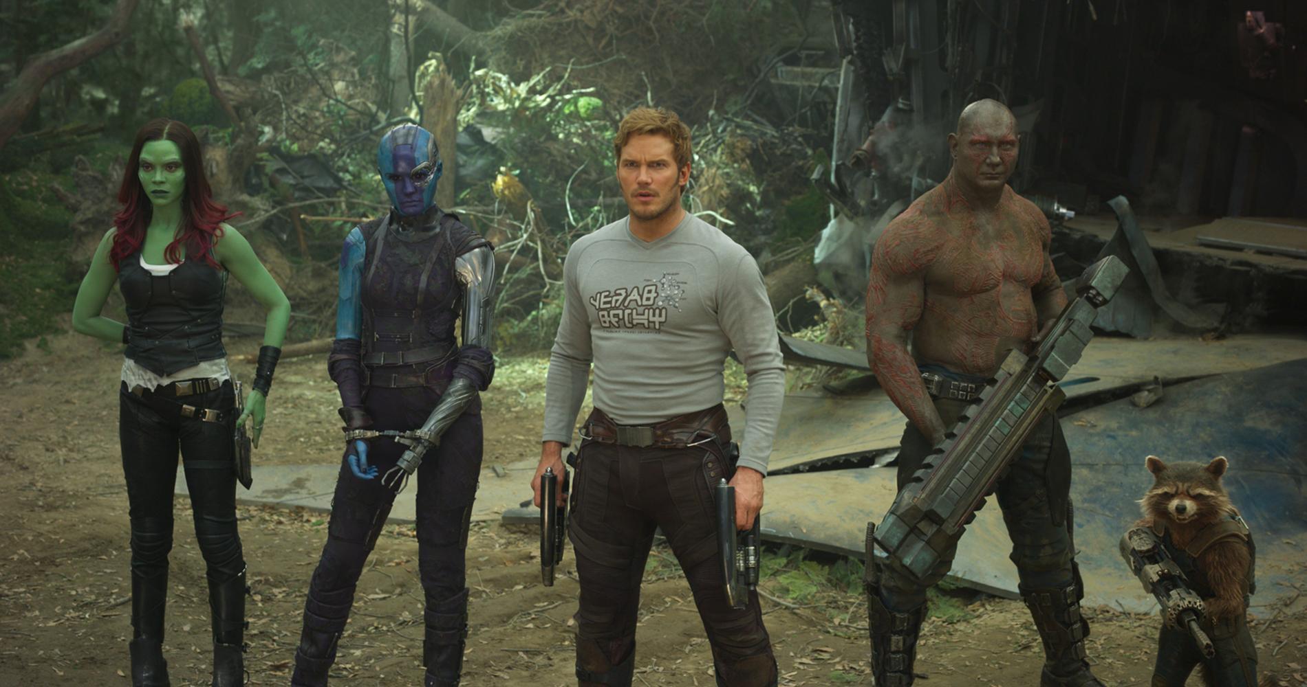 """Guardians Of The Galaxy Vol. 2"" med Gamora (Zoe Saldana), Nebula (Karen Gillan), Star-Lord/Peter Quill (Chris Pratt), Drax (Dave Bautista) och Rocket (Bradley Cooper)."