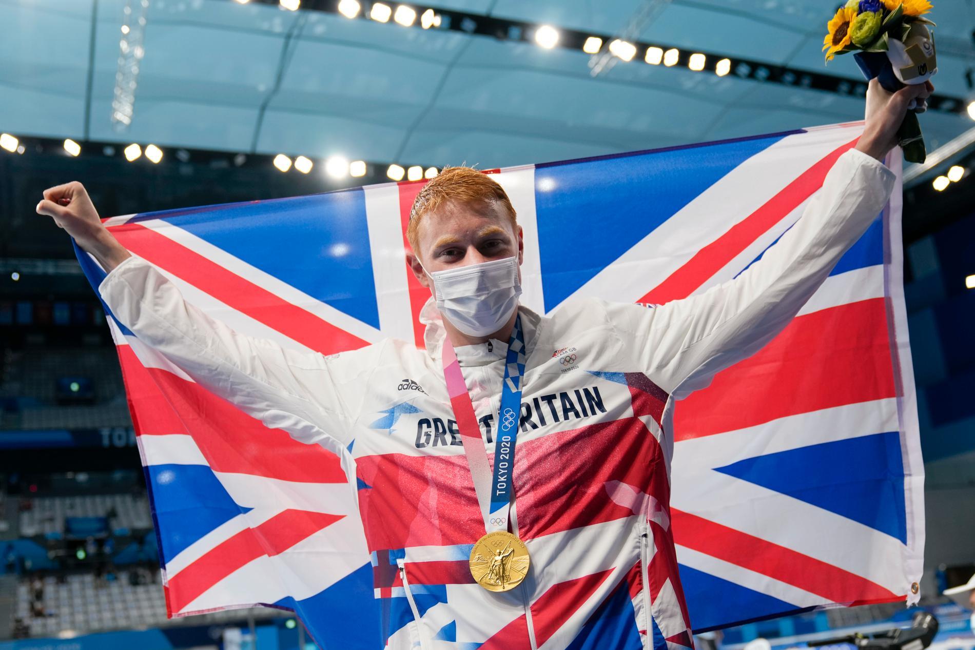 Tom Dean, Storbritannien, tog OS-guld på 200 meter fritt – trots att han coronasmittats två gånger på ett år.