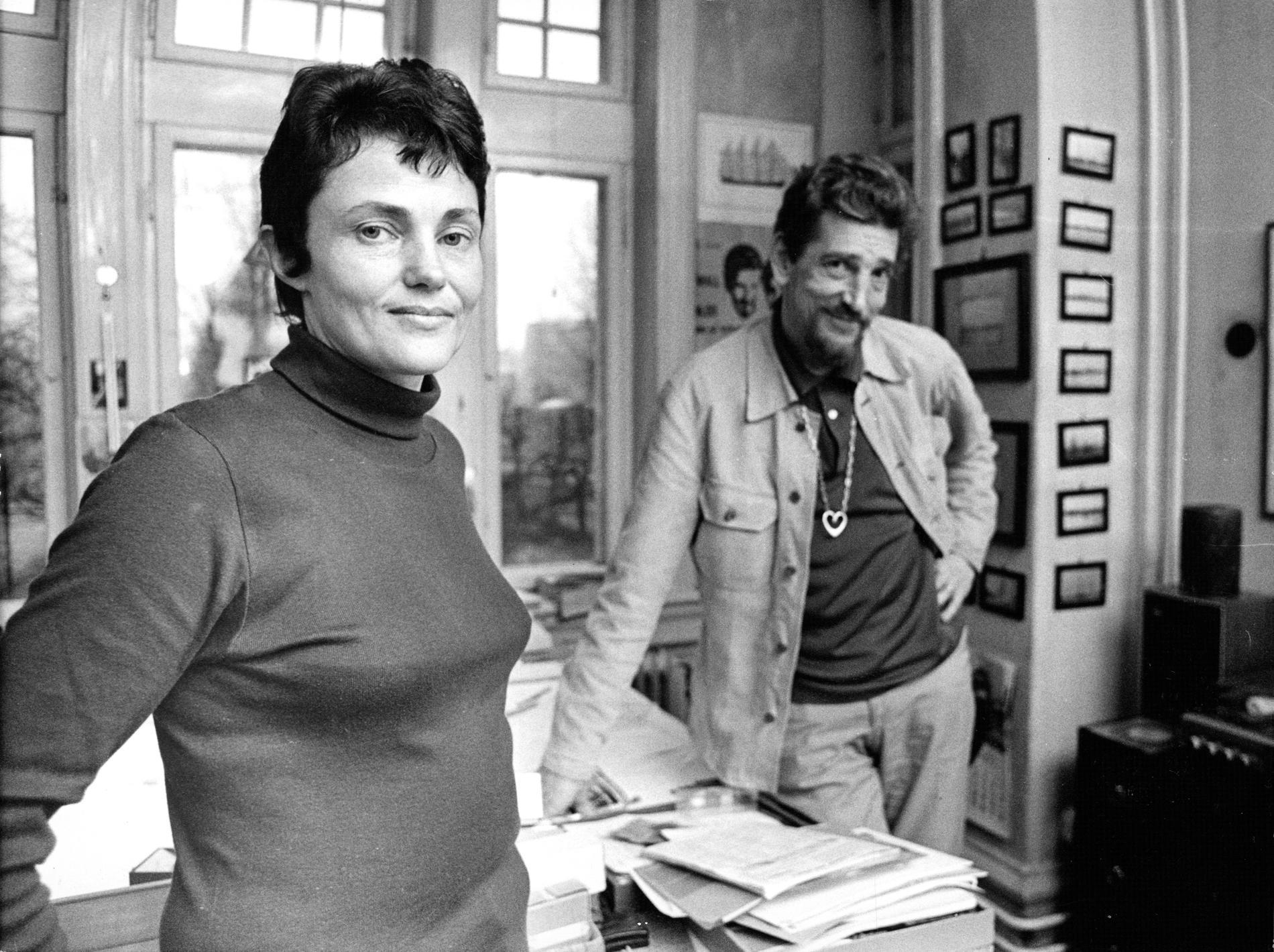 Maj Sjöwall tillsammans med sambon och författarkollegan Per Wahlöö, 1972.