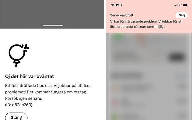 Felmeddelanden strax innan appen stängdes ner