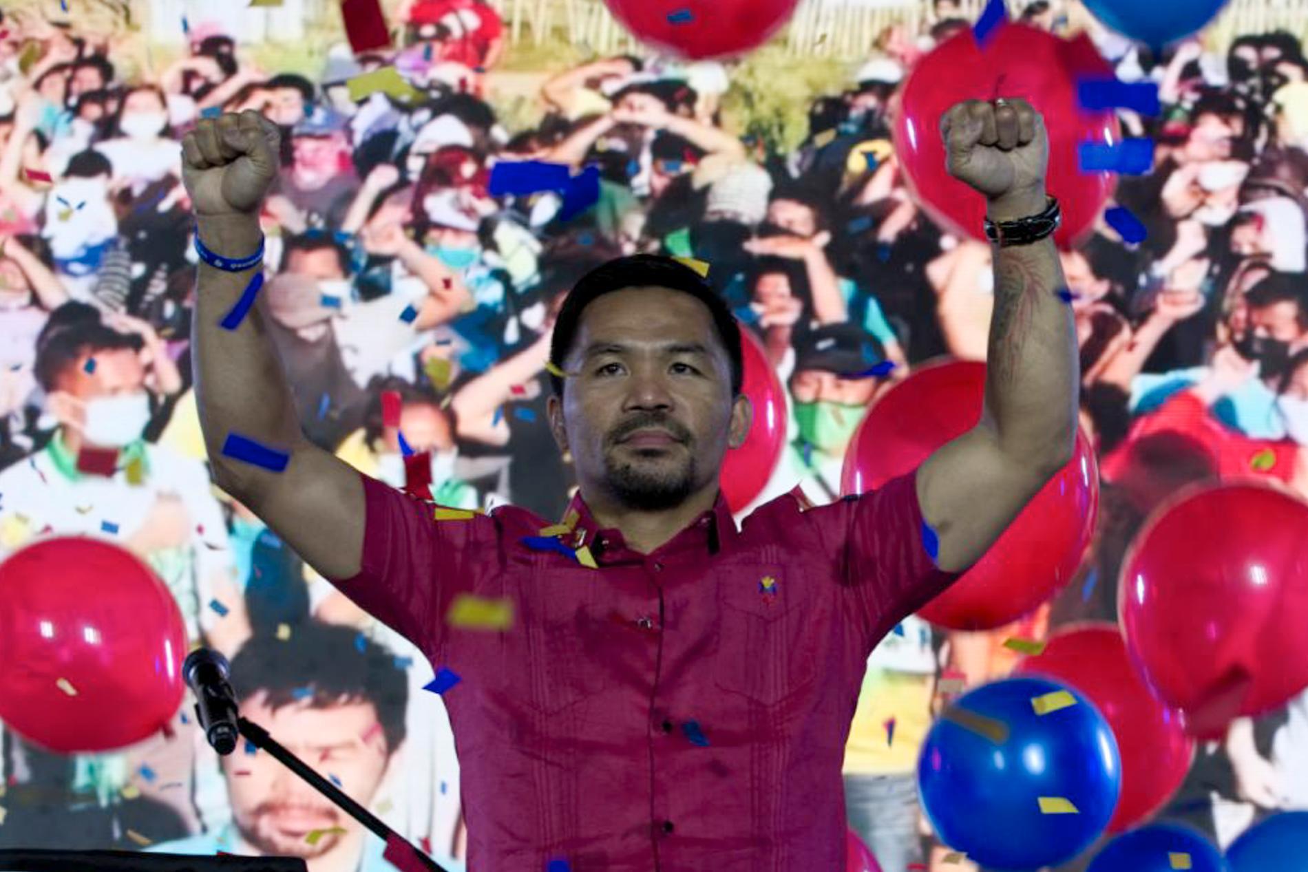 Manny Pacquiao meddelar att han ställer upp i valet som Filipinernas president.