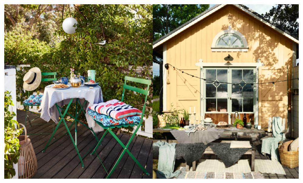 Mycket textilier, pynt och välkomnande färger – nu blir trädgården ett extra rum på riktigt! Här med möbler och inredningsdetaljer från Åhléns. När du inreder ute får även husets fasadkulör betydelse. Här är fasaden målad med Alcros ommålningsfärg Solist.