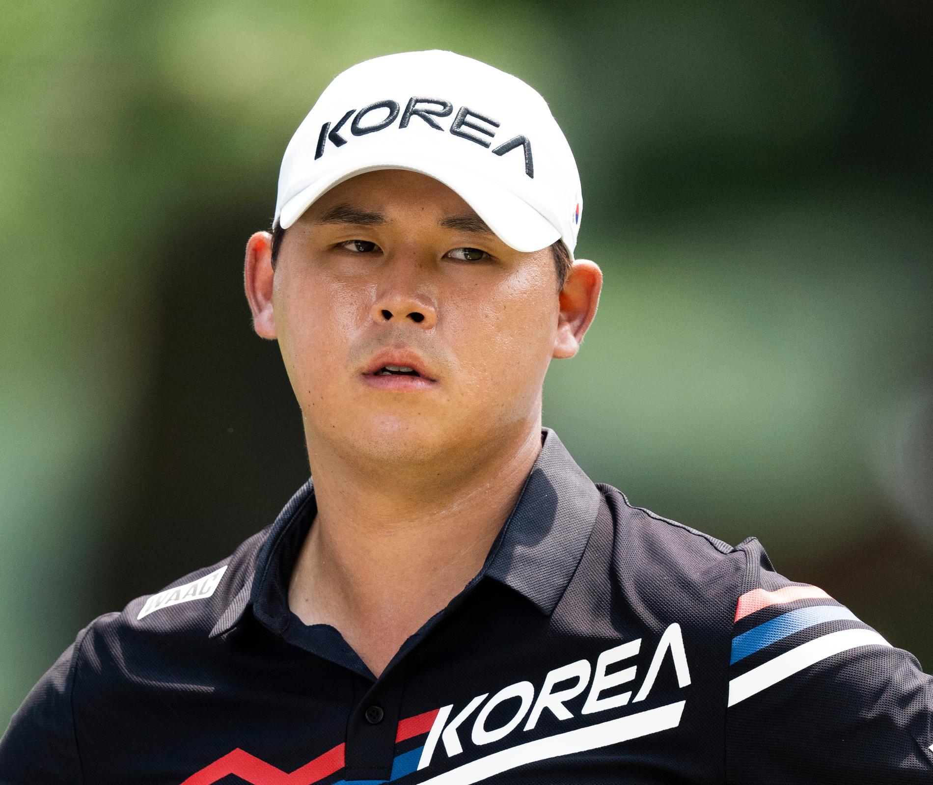 Kim Si-woo, 26, under den första rundan.