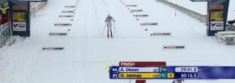 Anna Olsson går i mål som ledare.