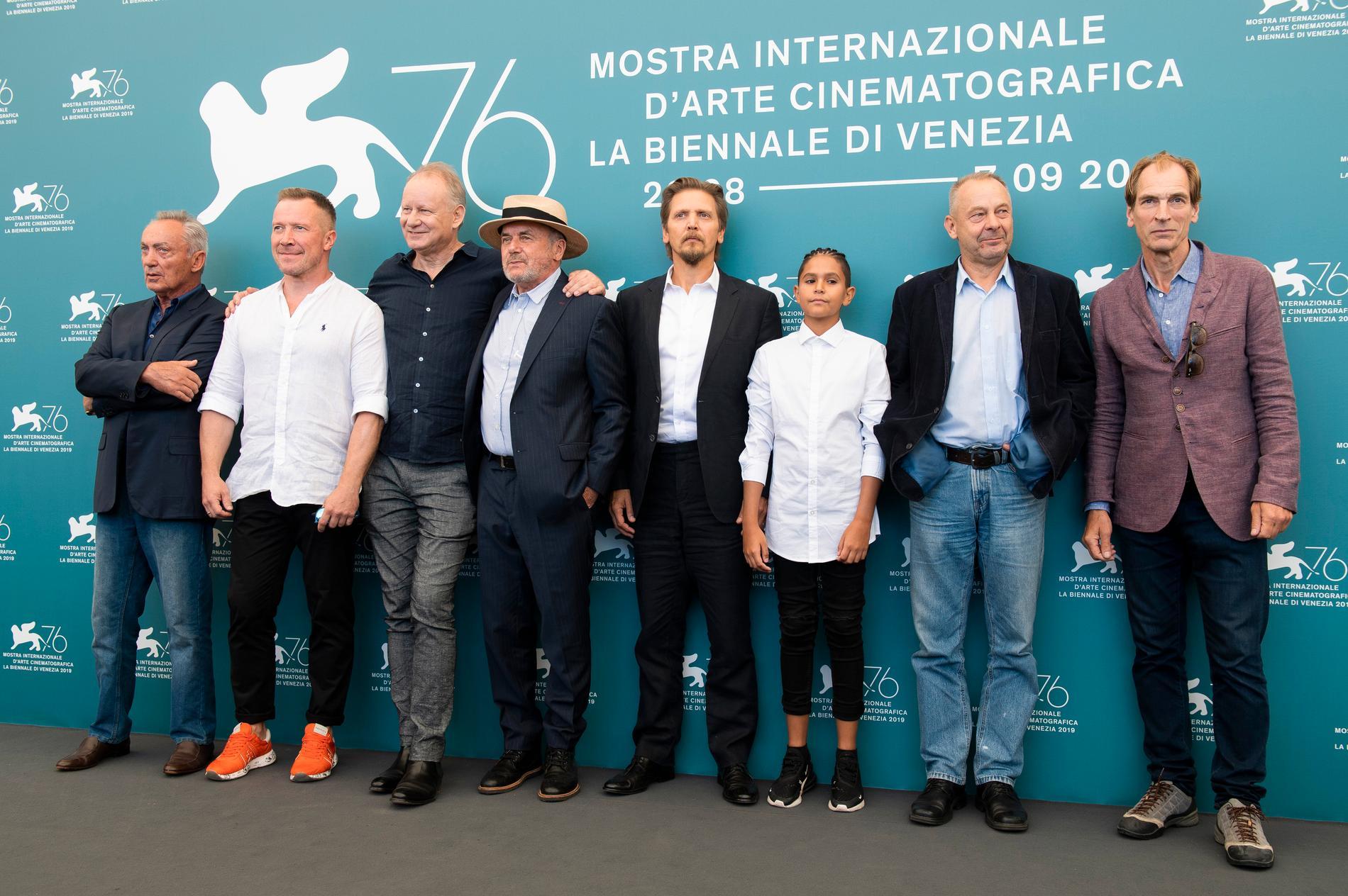 Gänget bakom The Painted Bird på filmfestivalen i Venedig 2019. Vaclav Marhoul står näst längst till höger.