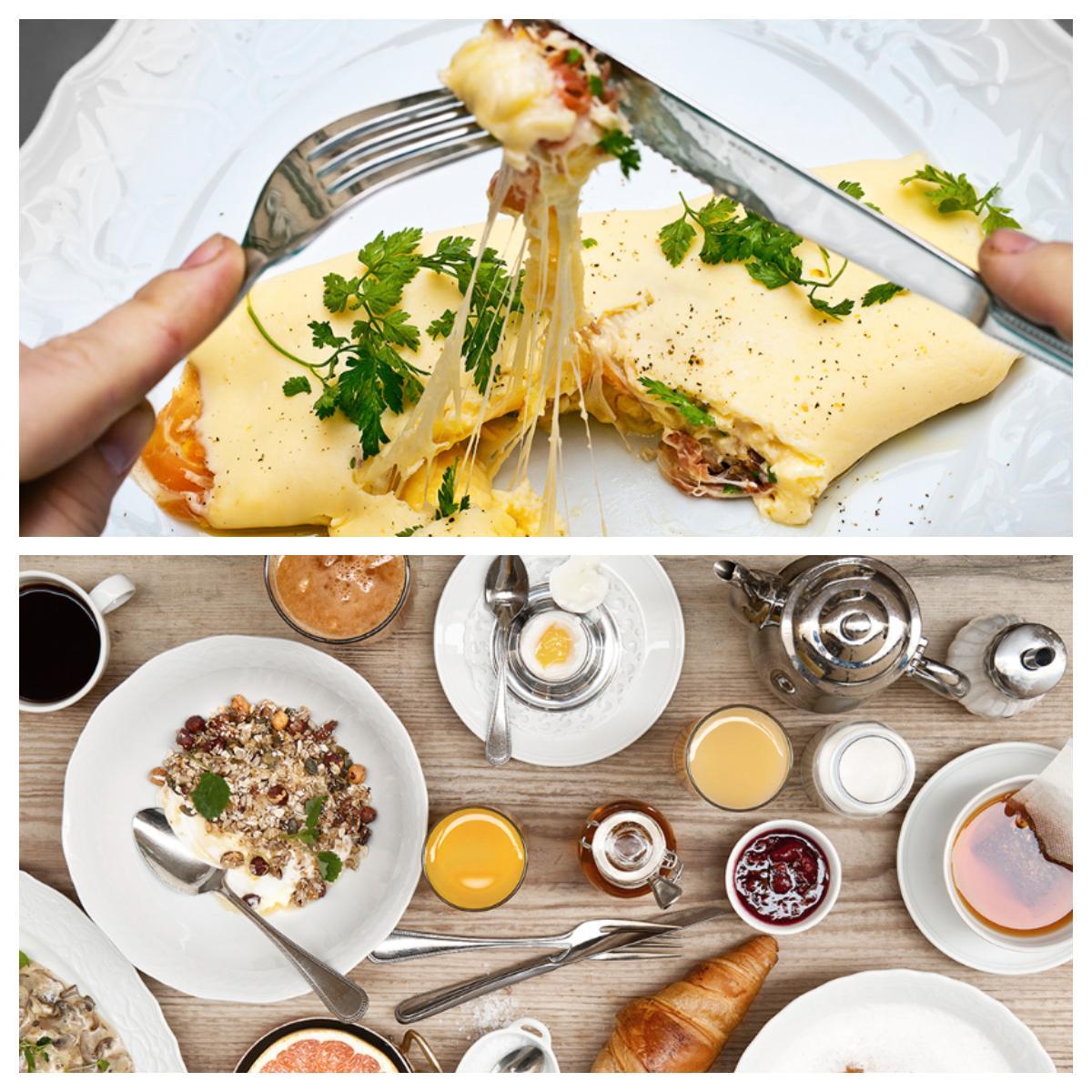 Frukostmenyn på Nybrogatan 38 är fylld av blandade rätter. Omeletten går att beställa från morgon till kväll