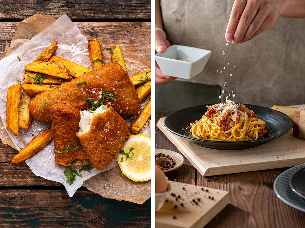 Två av favoriterna hos herrlandslaget är pasta carbonara och fish and chips.