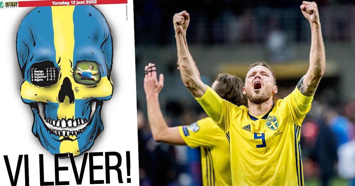 """Marcus Berg jublar efter VM-avancemanget. Till vänster Sportbladets förstasida 13 juni 2002 – efter att Sverige gått vidare från """"Dödens grupp""""."""