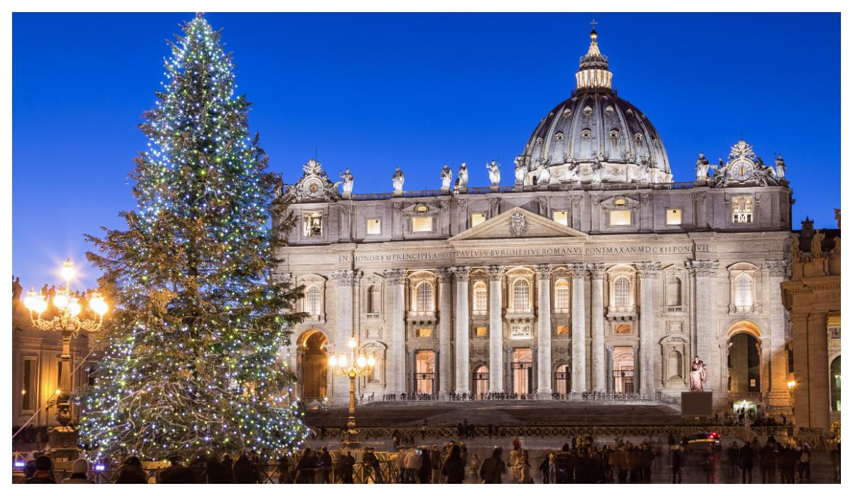 En vacker julgran i rom.