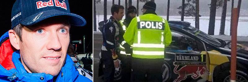 Här stoppas VM-ledaren av polis.