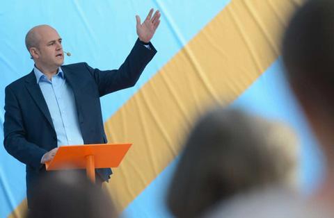 Fredrik Reinfeldt under sitt tal i Almedalen.