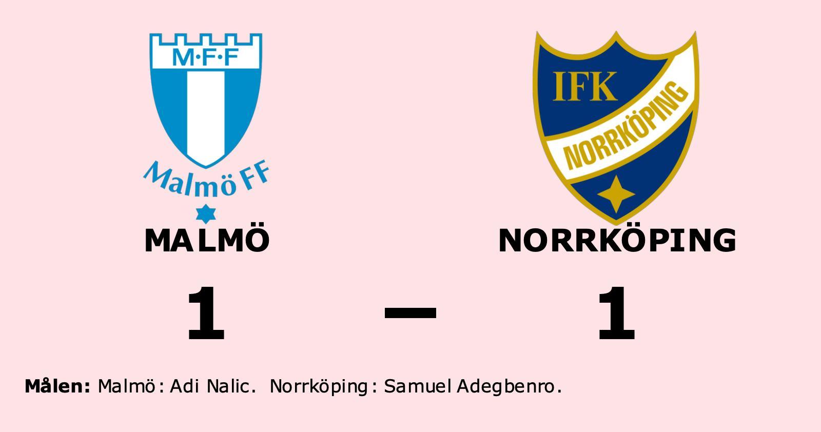 Oavgjort för Norrköping borta mot Malmö
