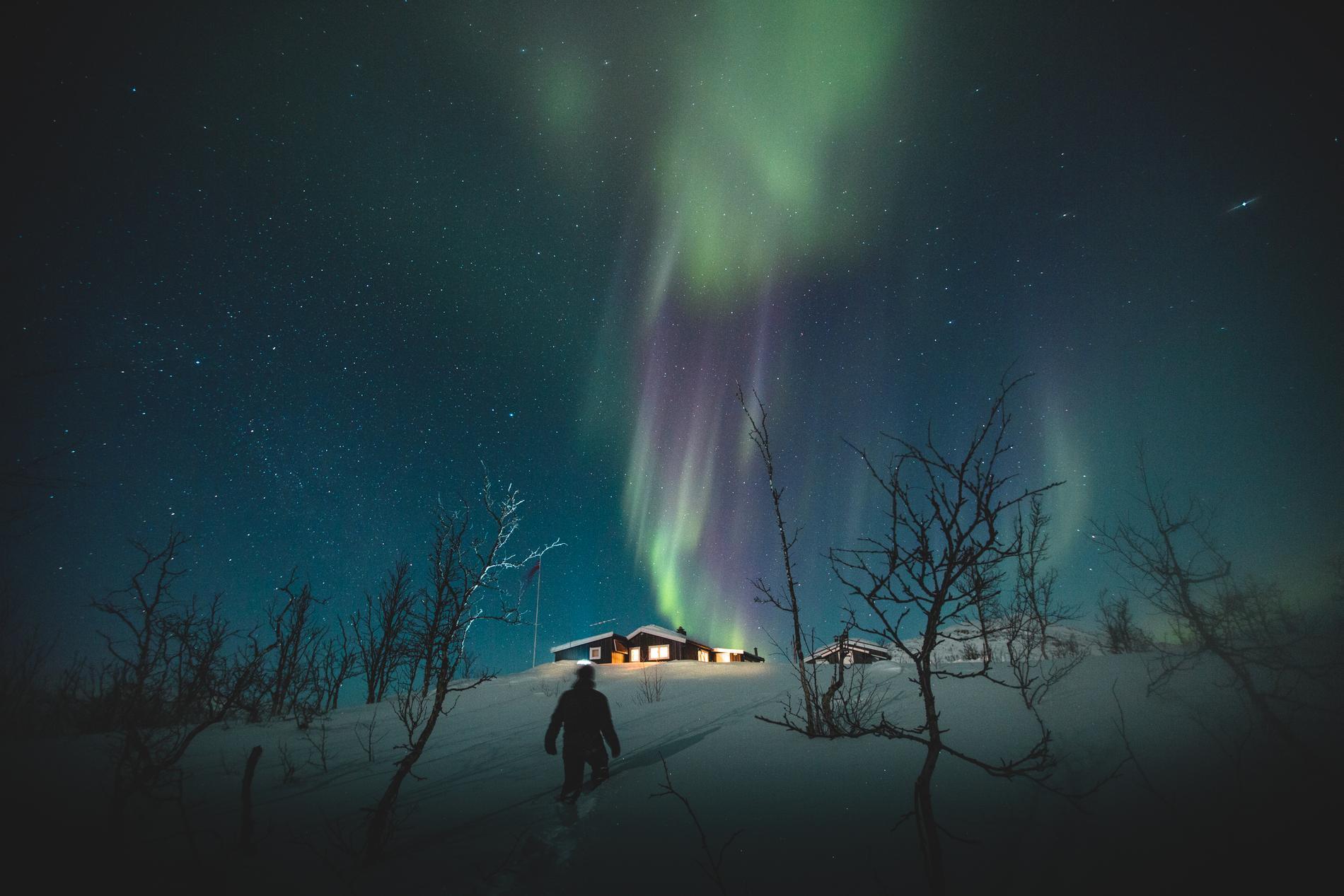 Vid riksgränsen går det att se norrsken under vintern.