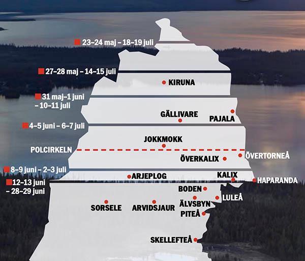 På kartan kan du se vilka tider på året som det är midnattssol norr om polcirkeln och midnattssljus söder om den. Tiderna läses nedåt